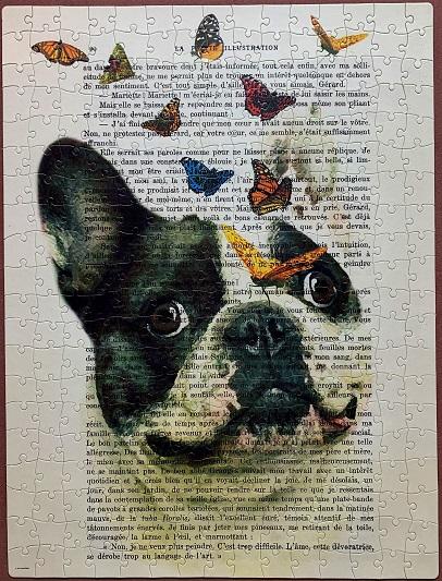 Bulldog with Butterflies